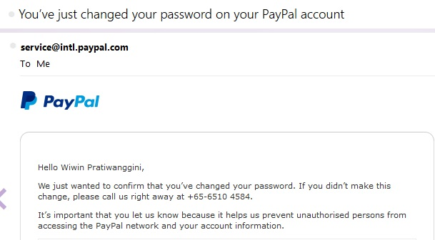 paypal change password