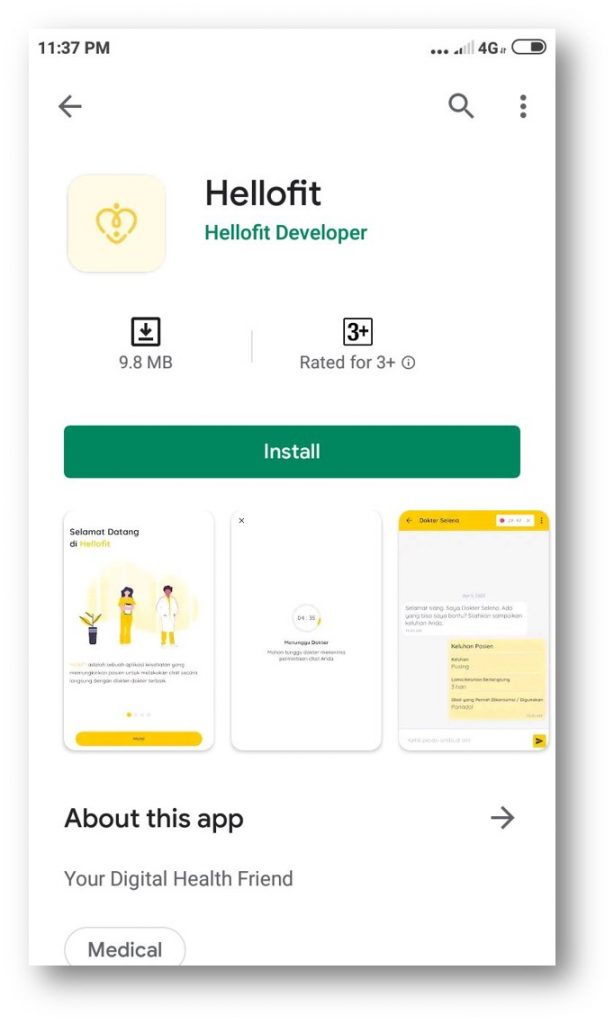 hellofit peduli tenaga medis aplikasi
