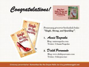 pemenang giveaway single strong and sparkling