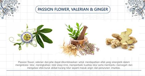 passion flower, valerian, jahe